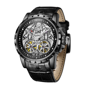 Reef Tiger Oblvlo Luxury Design Skeleton Watches Stainless Steel Tourbillon Automatic Men Watches OBL3609BBBB