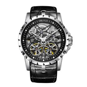 OBLVLO RM Mens Automatic White Skeleton Watch Black Leather Strap Watches OBL3606SSBW