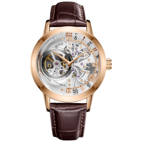 Reef Tiger Oblvlo VM 1 Luxury Casual Watches Rose Gold Tone Leather Strap Skeleton Automatic Watches OBL8238-PWS